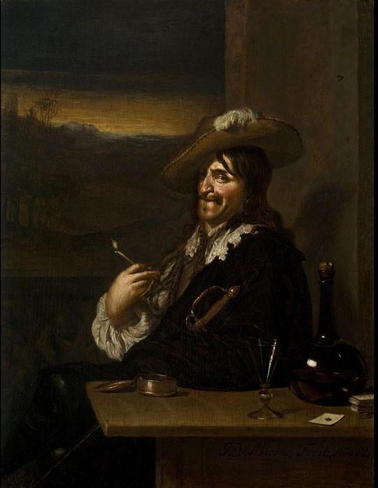 Ян Мирис, Jan van Mieris (1660 — 1690) — Кавалер с трубкой (1681, Частная коллекция)