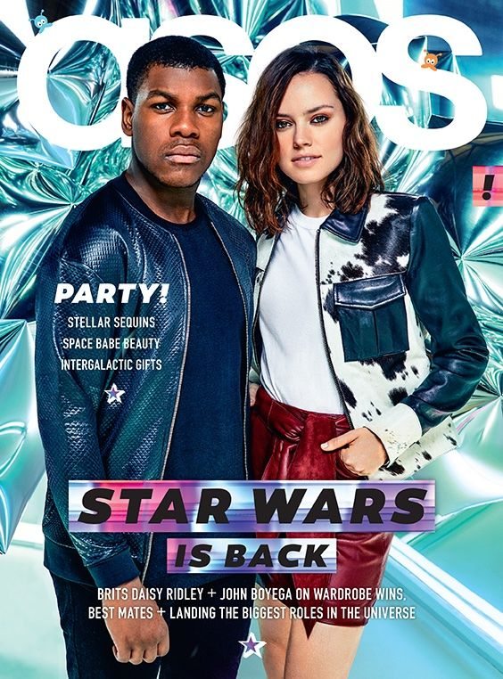 Star Wars actors Daisy Ridley and John Boyega Pose on ASOS Magazine December 2015 cover Photoshoot