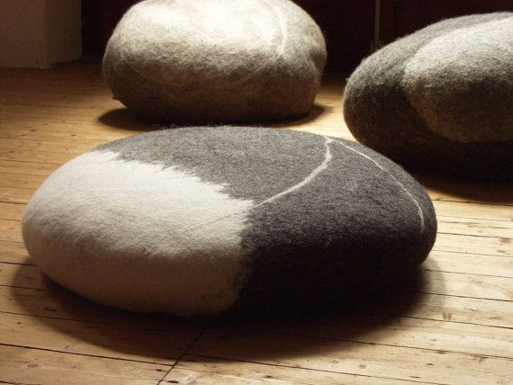 Samesch Felted Wool Pebbles And Stones Seat Cushion