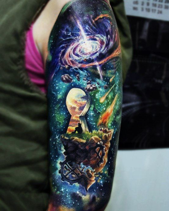 Key to galaxy tattoo