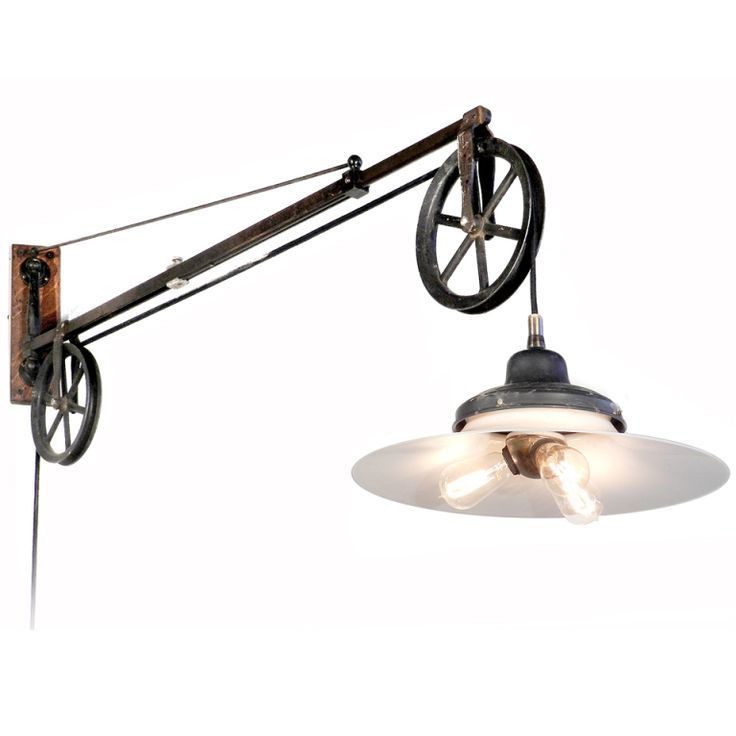 Original Swing Arm Dental Pulley With Large Milk Glass Lamp