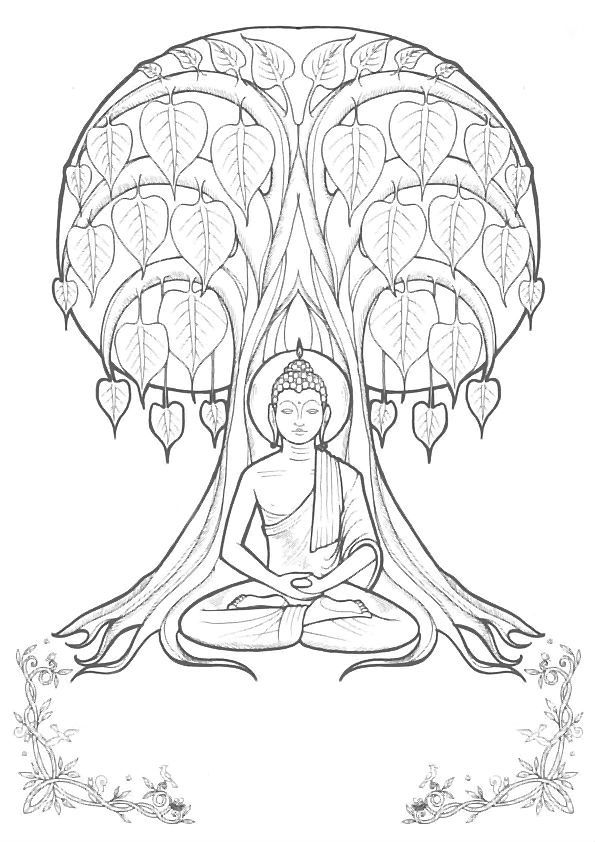 Buddha Coloring Easy Pages Sketch