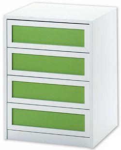Cajonera modelo Atenas en color blanco y verde eco.