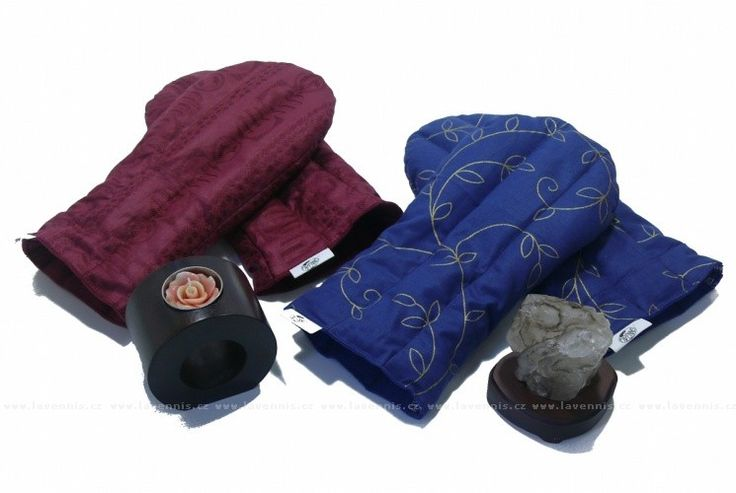 Nahřívací rukavice - vínové a modré