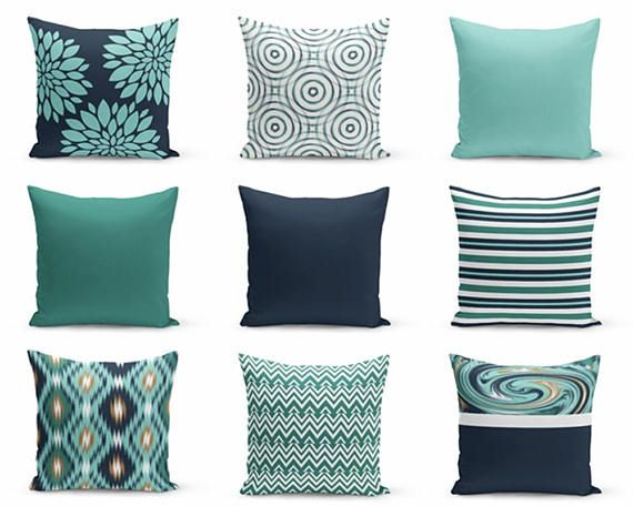 throw pillow covers navy teal pillows cushion covers home