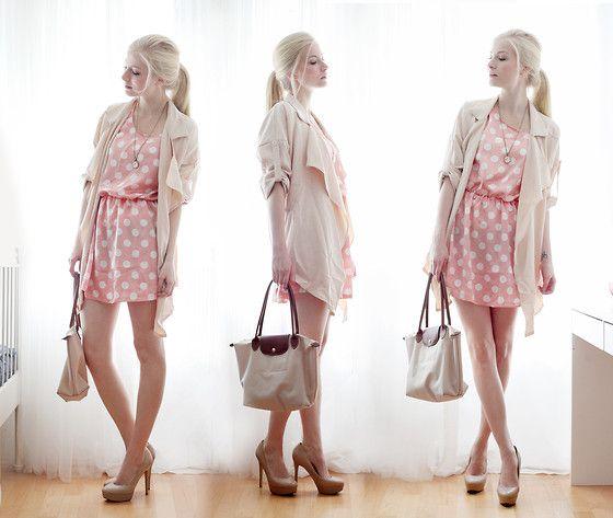 New Yorker Dress, Longchamp Bag, Aldo Shoes, Anoa Art Necklace, Sheinside Jacket