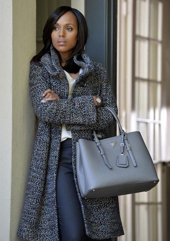 We LOVE Olivia Pope's Armani tweed coat and Prada handbag on last night's Scandal!