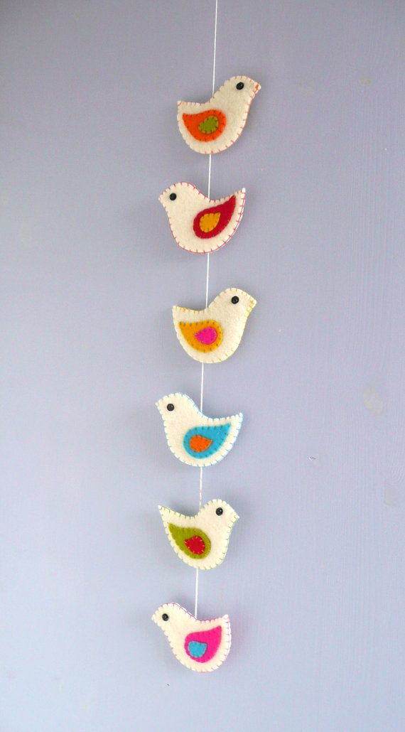 Colorful felt birds wall hanging 6 birds by HetBovenhuis on Etsy