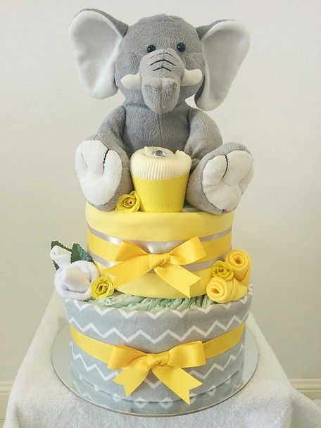 Yellow and Grey Elephant Nappy Cake, Chevrons, Neutral Nappy Cake, Diaper Cake