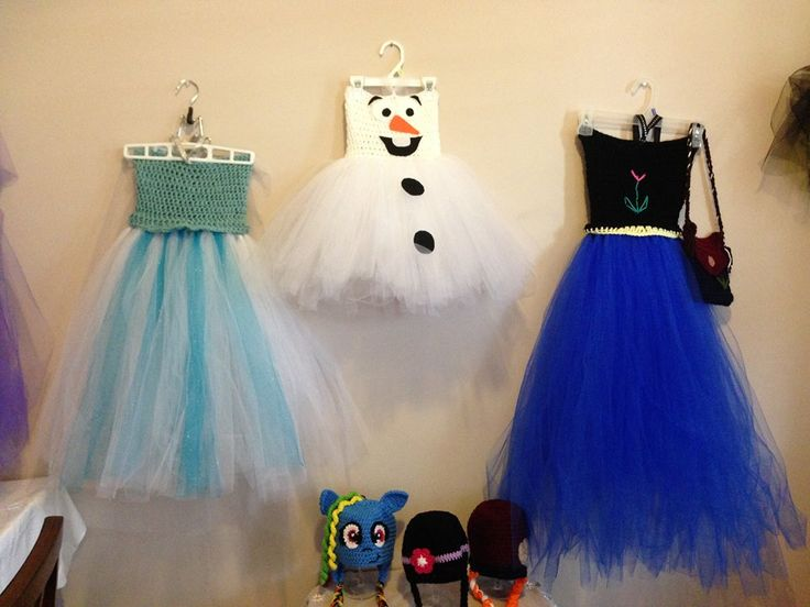 Tutu dresses Elsa, Ana and Olaf Top bodice is crochet