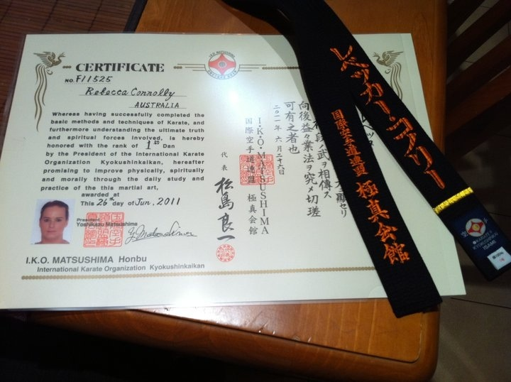 Shodan certificate & belt