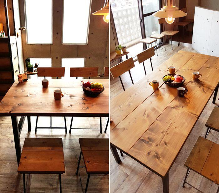 送料無料 サイズオーダー可 iron&wood デザイン家具。アイアン テーブル 無垢ダイニングテーブル 幅180×奥行80cm アジャスト付 H型 アイアン鉄脚