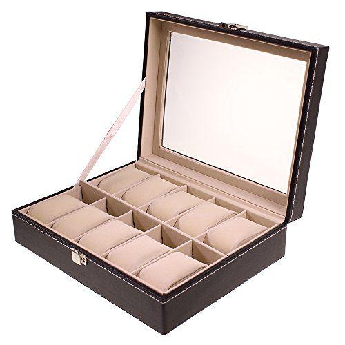 Boite de rangement en faux cuir présentoir pour montres bracelets avec 10 coussins par Kurtzy TM