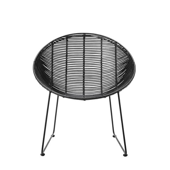 Volga Rattan Lounge Chair, Black w/Black Legs