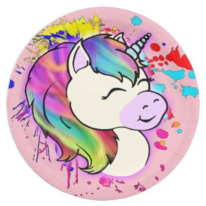 Happy Unicorn Paper Plates - kitchen gifts diy ideas decor special unique individual customized