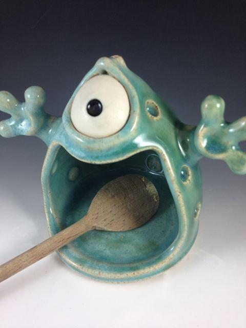 Handmade Spoon Monster - Celadon by Claymonster Pottery