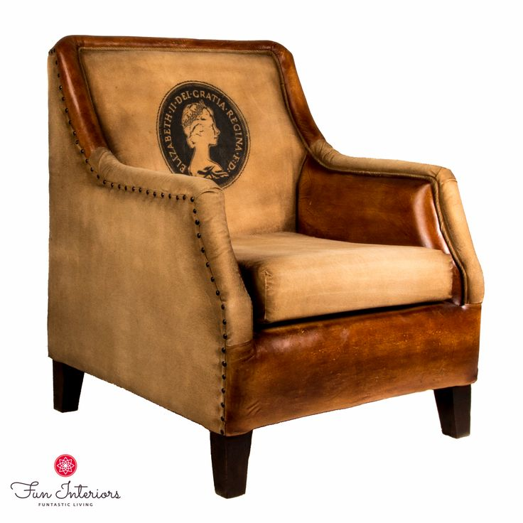 cotton&leather vintage armchair with Queen Elisabeth print