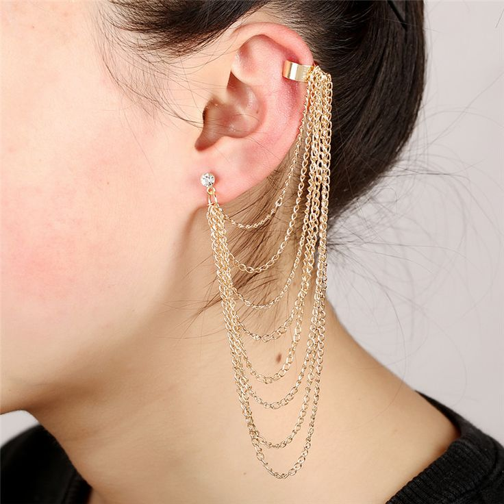 Long Tassel Earrings For Women punk Ear Cuff Jewelry Gold Plated Crystal Inlaid Multilayer Chain Fringe Statement clip earrings