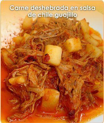 CARNE DESHEBRADA EN SALSA DE CHILE GUAJILLO (Shredded Beef in Red Chile Salsa)