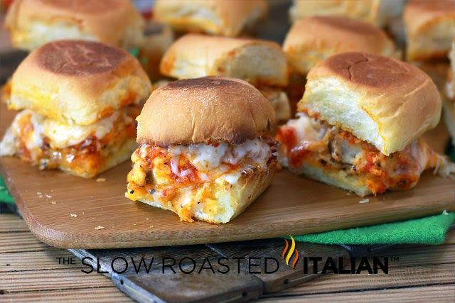 Chicken Parmesan Sliders.  How easy are these for Super Bowl Sunday - or any holiday, for that matter! Woohoo!!!