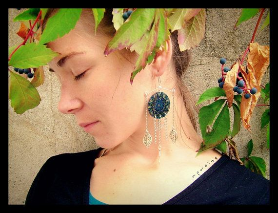 LUCKY MANDALA  Unique Hand-Painted Dangle Earrings by Tengriana