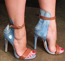 Top qualité! 2015 Sexy femmes cheville bout pointu Denim chaussures haut talon…