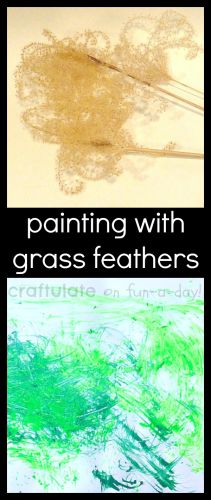 Painting without Brushes - Using Grass Feathers!  A FUN way for children to explore nature while creating beautiful process art!
