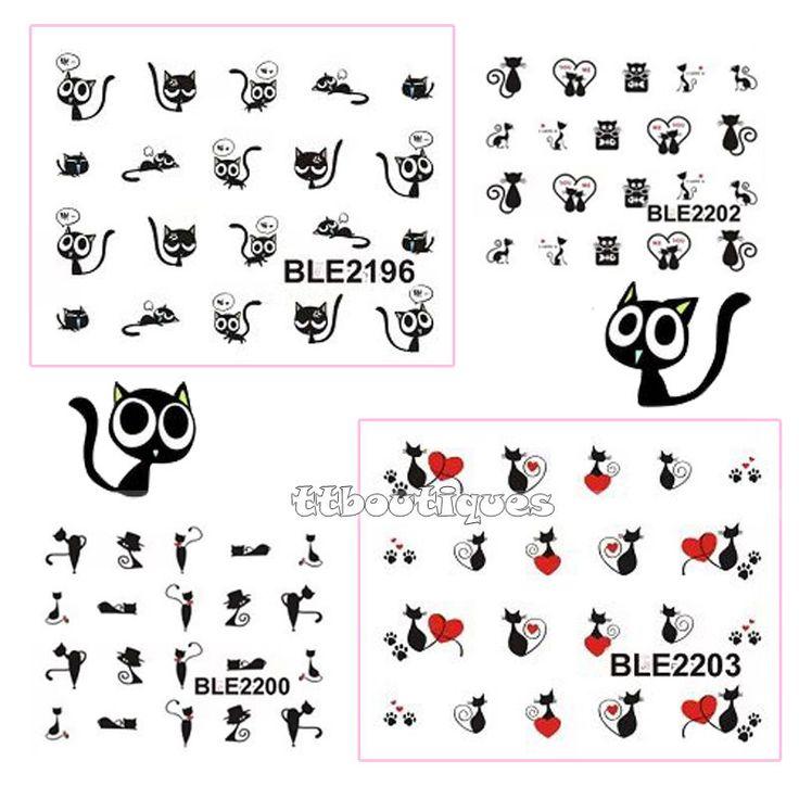 1 Lote = 11 Hojas Grandes Qute Gato Gatito Negro Del Arte Del Clavo de Transferencia de Agua Pegatinas Decoraciones Punta BLE2193-2203