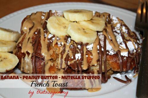 Bananas, Peanut Butter & Nutella French Toast on www.thatssoyummy.com (YUM): Desserts Recipes, Bananas Peanut, Butter Nutella, Decade Recipes, Stuffed French Toast, Favorite Recipes, Butter Stuffed, Peanut Butter, Nutella French Toast