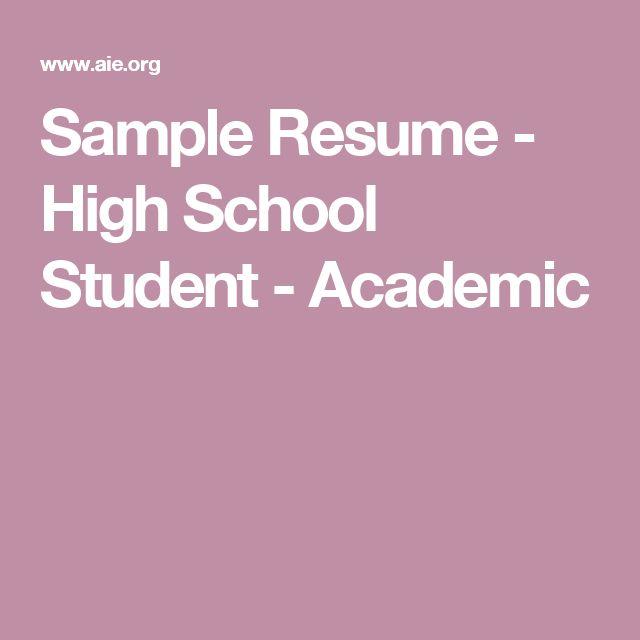 Sample Resume - High School Student - Academic CCR - Resume - sample resume high school