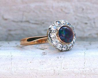Magnífico antiguo ópalo y diamante 18K amarillo oro / platino anillo de compromiso - 1,48 ct.