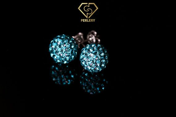 Swarovski Earrings Swarovski Stud Earrings Aquamarine by Perlery
