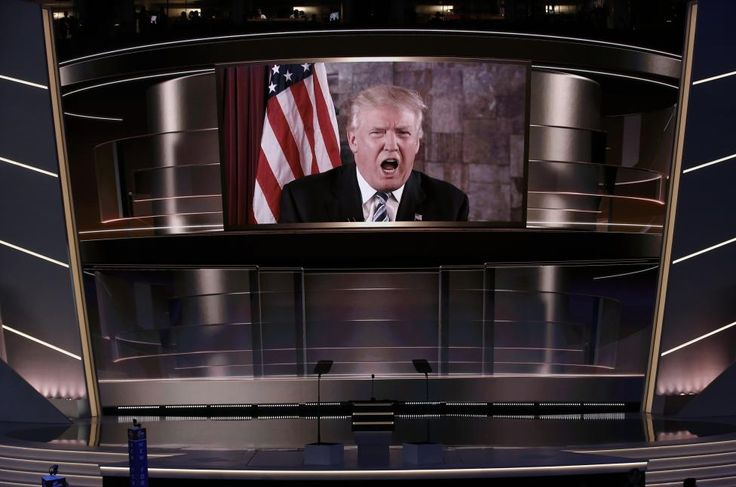 Pictures of the year 2016 | Reuters.com  Photographer Mike Segar Location CLEVELAND, United States Reuters / Tuesday, July 19, 2016 Donald Trump speaks live via satellite from Trump Tower in New York City during the second session at the Republican National Convention in Cleveland, Ohio, July 19, 2016. REUTERS/Mike Segar