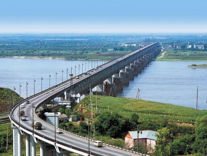 Bridge over Amur River, Khabarovsk, Russia