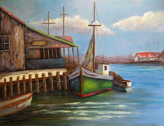New  GREEN BOAT An Original Fine Art Painting by DianeTrierweiler, $149.99