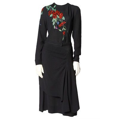 Vintage   1940's  Black Dress Hand Embroidered + Beaded Flowers