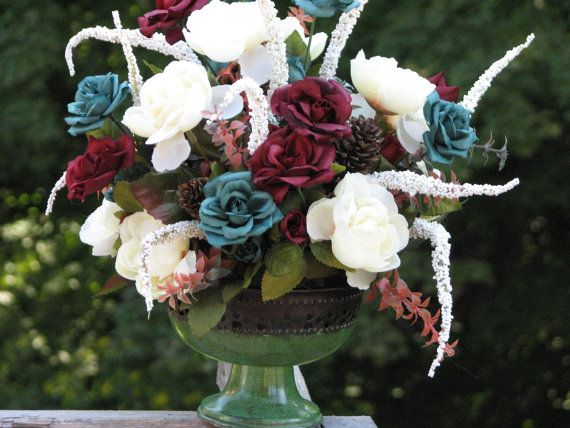 Rustic Centerpiece Silk Floral Arrangement Teal by TheVineDesigns