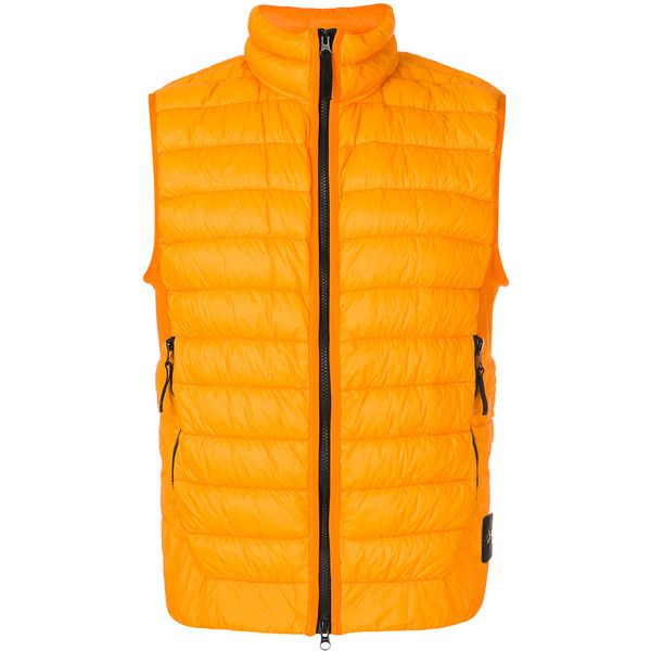 Stone Island padded gilet ($435) ❤ liked on Polyvore featuring men's fashion, men's clothing, men's outerwear, men's vests, yellow, mens quilted vest, mens gilet vest, mens sleeveless vest and mens padded vest