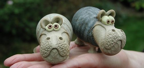Pottery Hippos | hand-made pottery from Muggins Pottery in Leicestershire - wedding gifts, birthday presents, christening presents and anniversary gifts.