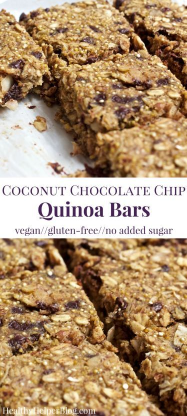 Coconut Chocolate Chip Quinoa Bars | Healthy Helper @Healthy_Helper Perfect for starting your day with a or snacking on-the-go these nutty, chocolate-filled bars are light, fluffy, and delicious! Vegan, gluten-free, and super simple to make too. You'll love the wholesome ingredients and natural sweeteners used. Bob's Quinoa AD