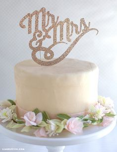 Sparkly DIY Cake Toppers for Weddings or Birthdays. Free printable @LiaGriffith.com
