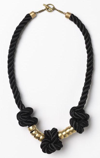 Apiece Apart Black Mini Rope Knot Necklace