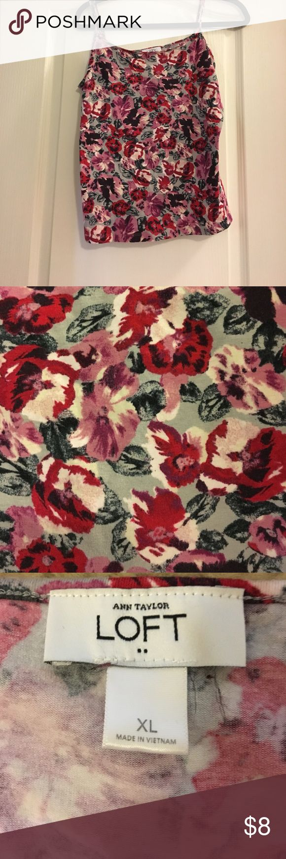 Loft floral cami Loft floral cami with reds, pinks, black, and gray LOFT Tops Camisoles