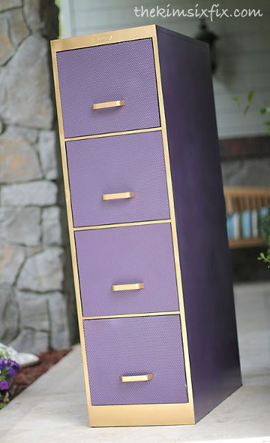 filing cabinet makeover using plastic fluorsecent light diffusers, painted furniture