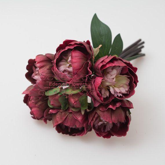 Burgundy Peony Wine Red Bouquet for Wedding Bridal by EdenOfFlower