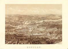 Panorama Wrocławia 1869. Litografia na podst. miedziorytu Adolfa Eltznera.