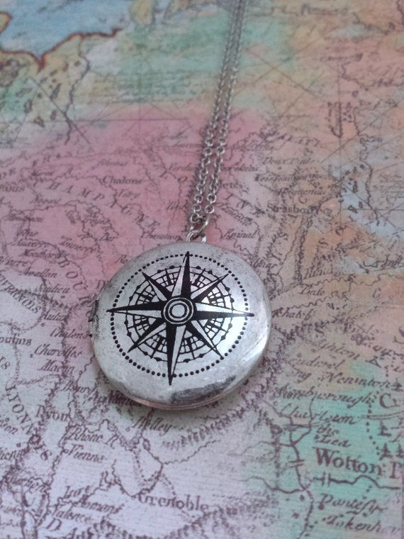 Compass Locket Necklace by SBC Compass by sandybeachcollection