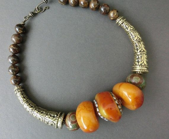 Beads amulet Success ethnic jewelry agate Dzi by necklacehandmade
