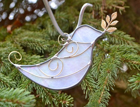 White  Dove with Olive Branch Stained Glass  Suncatcher Peace