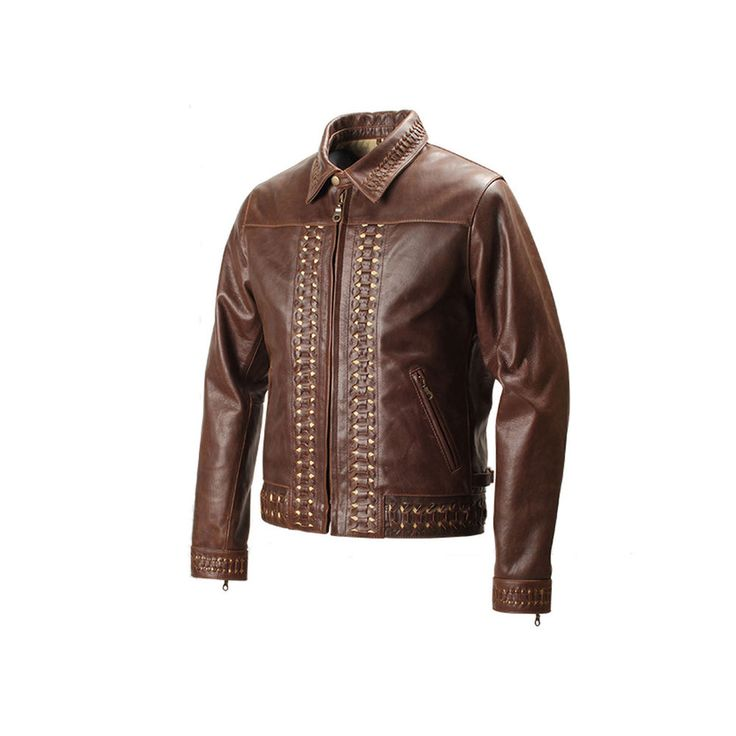 BROWN BRAIDED DESIGN LEATHER COW HIDE BIKER JACKET #ROLECODE